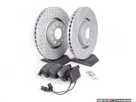 ES#2562614 - 8E0301ADXGMTKT7 - Performance Front Brake Service Kit - Featuring ECS GEOMET Drilled & Slotted rotors and Hawk HPS pads - Assembled By ECS - Audi