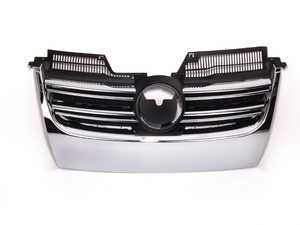 ES#2562366 - 1K1853653R - Slotted Grille - Chrome - This silver chrome grille reflects both the styles of the MKV R32 and Jetta - JOM - Volkswagen