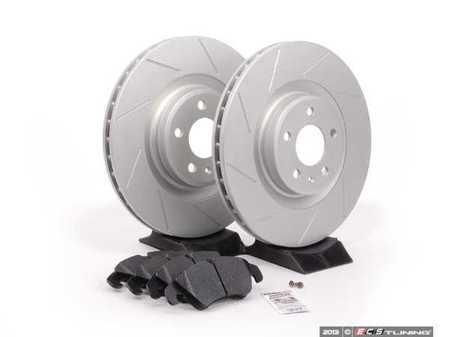 ES#2597370 - 8K0301MSLGMTKT - Performance Front Brake Service Kit - Featuring ECS GEOMET Slotted rotors and Hawk HPS pads - Assembled By ECS - Audi