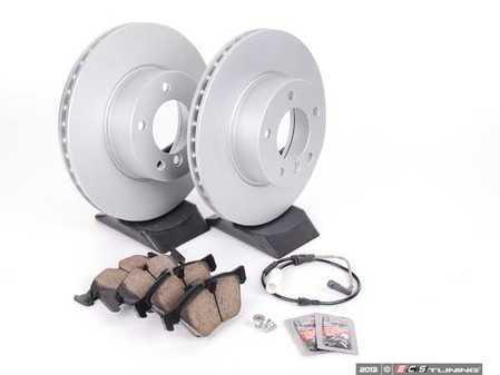 ES#2603258 - 34116854998KT2 - Front Brake Service Kit - Featuring Zimmermann Brake Rotors and Akebono Ceramic Pads - Assembled By ECS - BMW