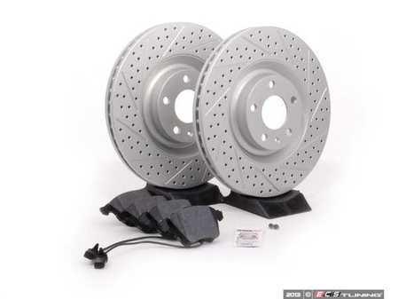 ES#2561952 - 8E0301TXSGMTKT - Performance Front Brake Service Kit - Featuring ECS GEOMET Drilled & Slotted rotors and Hawk HPS pads - Assembled By ECS - Audi