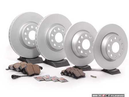 ES#2594011 - 1K0615301AAKT6 - Front & Rear Brake Service Kit - Featuring Meyle rotors and Vaico semi metallic pads - Assembled By ECS - Audi
