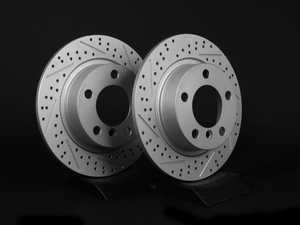 "ES#2539370 - 342830XSGMTLRKT - Rear Cross Drilled & Slotted Brake Rotors - Pair 11.02"" (280x10) - (NO LONGER AVAILABLE) - Featuring GEOMET protective coating. - ECS - MINI"