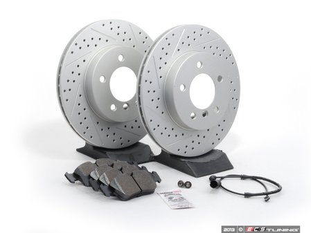 ES#2609219 - E463411KT10 - Performance Front Brake Service Kit - Featuring ECS GEOMET cross drilled and slotted rotors and Hawk HPS pads - Assembled By ECS - BMW