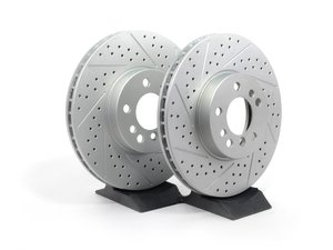 ES#2193128 - 6765457XSGMTLRA - Front Cross Drilled & Slotted Brake Rotors - Pair - Featuring GEOMET protective coating offering superior rust protection for long lasting, great looking rotors. - ECS - BMW