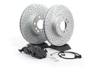 ES#1306739 - ECSE533411-4 - Performance Front Brake Service Kit - Featuring ECS GEOMET cross drilled and slotted rotors and Hawk HPS pads - Assembled By ECS - BMW
