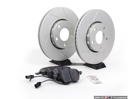 ES#2561572 - 4A0301DSLGMTKT - Performance Front Brake Service Kit - Featuring ECS GEOMET Slotted rotors and Hawk HPS pads - Assembled By ECS - Audi