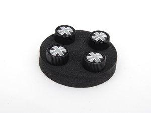 ES#2145224 - 36112211235 - Black Jack Logo Valve Stem Caps Set - Black - Priced As Set - Get the union jack look in grey/ black color scheme ( Black Cap ) - Genuine MINI - MINI