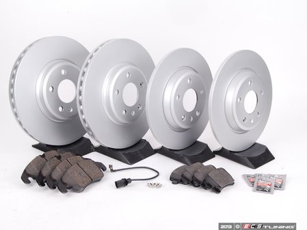 ES#2628475 - 8K0615301AKT3 - Front & Rear Economy Brake Service Kit - Featuring OP Parts rotors and semi metallic pads - Assembled By ECS - Audi
