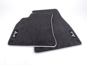 ES#1904670 - 8K1061275MNO - Front Carpeted Floor Mat Set - Sabre (Black) - Front pair of floor mats featuring the 'A4' embroidered inscription  - Genuine Volkswagen Audi - Audi