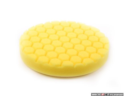 """ES#2619003 - BUFX101HEX6 - 6.5"""" Yellow Hex Logic Cutting Pad - 500 To 1000 Grit - Designed for use with heavy cutting compounds - Chemical Guys - Audi BMW Volkswagen Mercedes Benz MINI Porsche"""