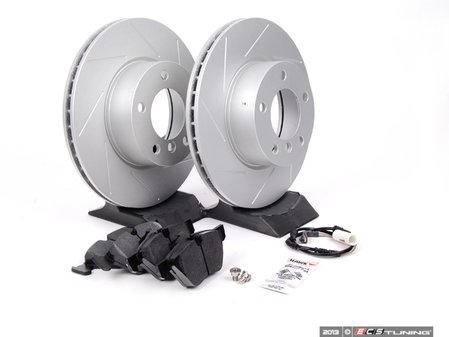 ES#2606366 - 34356789440SKT - Performance Front Brake Service Kit - Featuring ECS GEOMET slotted rotors and Hawk HPS pads - Assembled By ECS - BMW