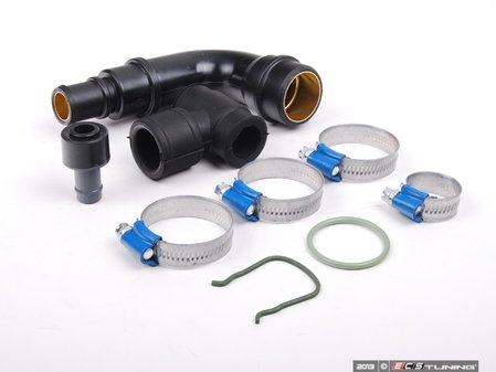 """ES#2214900 - 06A198298 - Crankcase Breather Hose Kit - Includes the """"L"""" & """"T"""" shaped breather hoses, breather valve, and tube with hardware - Assembled By ECS - Audi"""