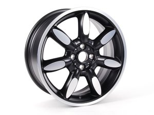 "ES#64961 - 36116773800 - Night Spoke MINI Sidewalk Wheel 17"" (4x100) Matte Black Turned - Priced Each - 17 x 7J ET:48 - Genuine MINI - MINI"