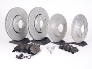 ES#2561910 - 4A0301DSLGMTKT3 - Performance Front & Rear Brake Service Kit - Featuring ECS GEOMET Slotted rotors and Hawk HPS pads - Assembled By ECS - Audi