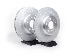 ES#2568632 - 34206797600KT - BMW Performance Rear Cross Drilled & Slotted Brake Rotors - Pair (345x24) - Race quality braking option from the factory - Genuine BMW M Performance - BMW