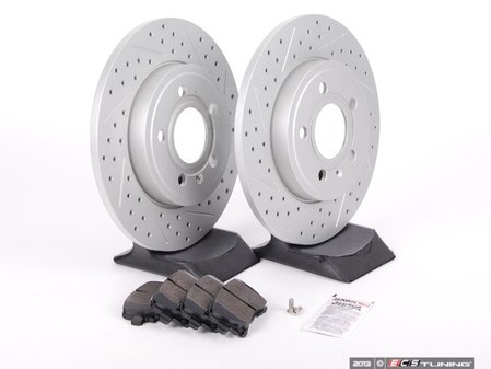 ES#2562105 - 8E0601MXSGMTKT - Performance Rear Brake Service Kit - Featuring ECS GEOMET Drilled & Slotted rotors and Hawk HPS pads - Assembled By ECS - Audi