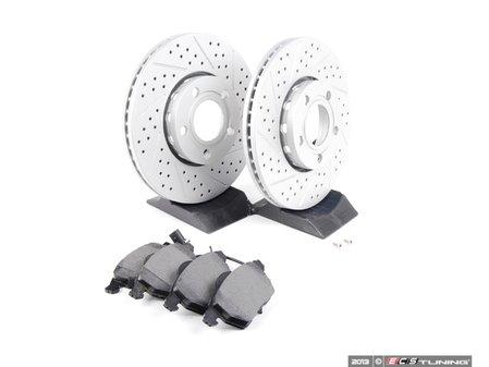 ES#2587535 - D1427DKT - Performance Front Brake Service Kit - ECS Drilled & Slotted GEOMET Rotors with Vaico Pads - Assembled By ECS - Volkswagen