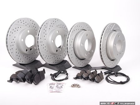 ES#2588172 - 34351164371FRKT - Performance Front And Rear Brake Service Kit - Featuring ECS GEOMET cross drilled and slotted rotors and Hawk HPS pads - Assembled By ECS - BMW