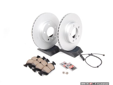 ES#2602967 - 34351164371CPKT - Front Brake Service Kit - Featuring Meyle coated rotors and Brembo pads - Assembled By ECS - BMW