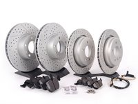 ES#2586989 - HB325F.720KT3 - Performance Front And Rear Brake Service Kit - Featuring ECS GEOMET cross drilled and slotted rotors and Hawk HPS pads - Assembled By ECS - BMW