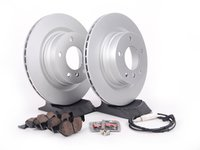 ES#2642896 - 34216855007KT4 - Rear Brake Service Kit - Featuring Zimmermann Brake Rotors and Akebono Ceramic Pads - Assembled By ECS - BMW