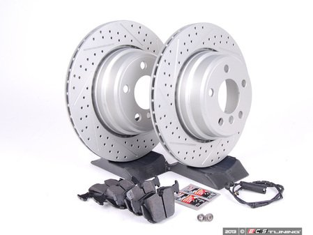 ES#2598279 - ECSE533421-6KT - Performance Rear Brake Service Kit - Featuring ECS GEOMET cross drilled and slotted rotors and Hawk HPS pads - Assembled By ECS -