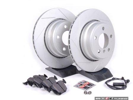 ES#2598278 - ECSE533421-5KT - Performance Rear Brake Service Kit - Featuring ECS GEOMET slotted rotors and Hawk HPS pads - Assembled By ECS -