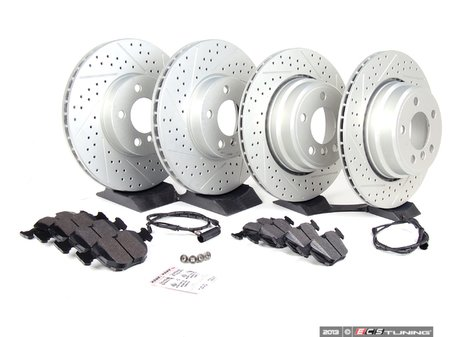 ES#2598310 - ECSE5334112110KT - Performance Front And Rear Brake Service Kit - Featuring ECS GEOMET cross drilled and slotted rotors and Hawk HPS pads - Assembled By ECS -