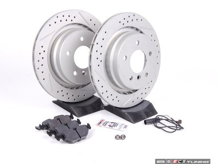 ES#2587265 - 34351181342KT3 - Performance Rear Brake Service Kit - Featuring ECS GEOMET cross drilled and slotted rotors and Hawk HPS pads - Assembled By ECS -