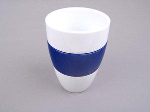 ES#2207477 - 80222156342 - Tumbler Cup - Dark Blue - White porcelain tumbler featuring a dark blue grip - Genuine BMW - BMW
