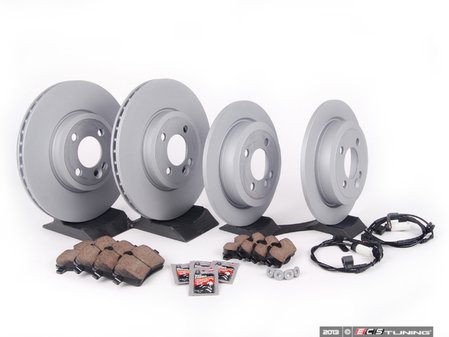 ES#2594877 - 34116858652KT11 - Front & Rear Brake Service Kit - Featuring Zimmerman rotors and Akebono pads - Assembled By ECS - MINI