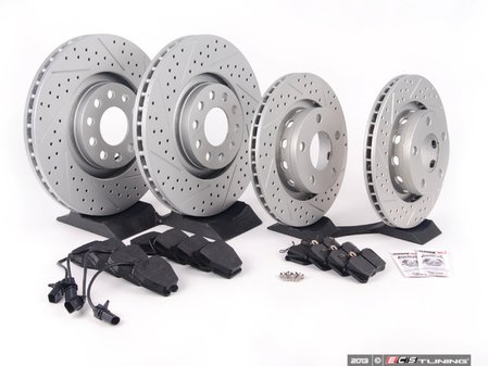 ES#2562308 - 8E0301ADXGMTKT5 - Performance Front & Rear Brake Service Kit - Featuring ECS GEOMET Drilled & Slotted rotors and Hawk HPS pads - Assembled By ECS - Audi