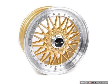 "ES#2695689 - 010-20MK5 - 18"" Style 010 Wheels - Set Of Four - 18""x8"" ET33 5x112 - Gold with 2"" Machined Lip - Alzor - Audi Volkswagen"