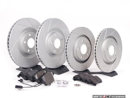 ES#2561961 - 8E0301TSLGMTKT1 - Performance Front & Rear Brake Service Kit - Featuring ECS GEOMET Slotted rotors and Hawk HPS pads - Assembled By ECS - Audi