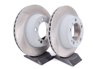 """ES#2594768 - 909321 - Slotted Brake Rotors - Pair 11.77"""" (299mm) - Directional rear axle fitment - Both left and right - Sebro - Porsche"""