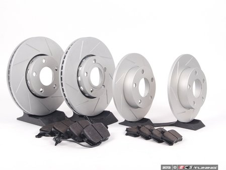 ES#2561713 - 4A0301DSLGMTKT1 - Performance Front & Rear Brake Service Kit - Featuring ECS GEOMET Slotted rotors and Hawk HPS pads - Assembled By ECS - Audi