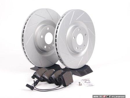ES#2561953 - 8E0301TSLGMTKT - Performance Front Brake Service Kit - Featuring ECS GEOMET Slotted rotors and Hawk HPS pads - Assembled By ECS - Audi