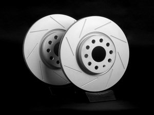 ES#2167541 - 1K0615301AAKT13 - Front Slotted Brake Rotors - Pair (312x25) - Featuring GEOMET protective coating. - ECS - Audi Volkswagen