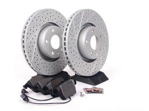 ES#2681191 - 4F0615301EKT7 - Performance Front Brake Service Kit - Featuring ECS GEOMET Drilled & Slotted rotors and Hawk HPS pads - Assembled By ECS - Audi