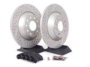 ES#2681198 - 4F0615601EKT7 - Performance Rear Brake Service Kit - Featuring ECS GEOMET Drilled & Slotted rotors and Hawk HPS pads - Assembled By ECS - Audi