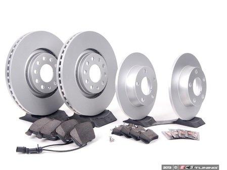 ES#2681038 - 8E0615301ADKT7 - Front & Rear Premuim Brake Service Kit - Featuring Brembo rotors and Akebono Euro Ceramic pads - Assembled By ECS - Audi