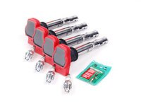 ES#2539447 - 06E905115EKTN -  Ignition Service Kit - Includes four Original Equipment red coil packs and four NGK iridium spark plugs (BKR7EIX) - Assembled By ECS - Audi Volkswagen