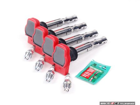 ES#2539447 - 06E905115EKTN -  Ignition Service Kit - Includes four Original Equipment red coil packs and four NGK iridium spark plugs (BKR8EIX - One heat range colder) - Assembled By ECS - Audi Volkswagen