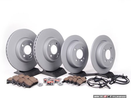 ES#2597815 - 34116768933KT12 - Front & Rear Brake Service Kit - Featuring Zimmerman rotors and Akebono pads - Assembled By ECS - MINI