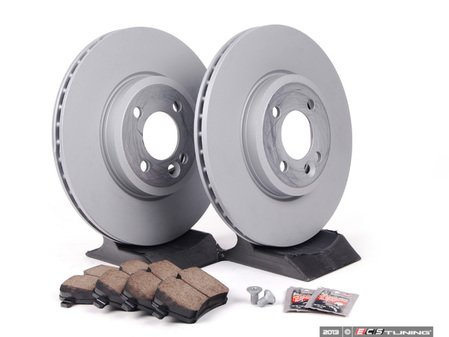ES#2598242 - 34116768933KT16 - Front Brake Service Kit - Featuring Zimmerman rotors and Akebono pads - Assembled By ECS - MINI