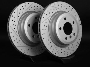 ES#2190259 - 6764655XSGMTLRA - Rear Cross Drilled & Slotted Brake Rotors - Pair (336x22) - Featuring GEOMET protective coating offering superior rust protection for long lasting, great looking rotors. - ECS - BMW