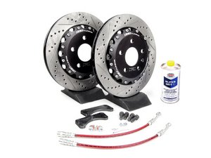 ES#3653 - B5S4S1RBBK-XS - Rear Big Brake Kit - Stage I - Cross Drilled & Slotted Rotors (306x22) - (NO LONGER AVAILABLE) - Upgrade your stopping power with larger two-piece rotors - ECS -