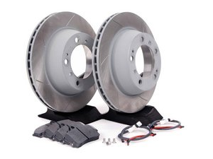 ES#2598679 - 99635240104RPKT2 - Performance Rear Brake Service Kit - Featuring Sebro slotted rotors and Hawk HPS brake pads - Assembled By ECS - Porsche