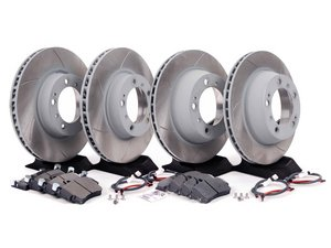 ES#2598677 - 99635140501PEKT3 - Performance Front & Rear Brake Service Kit - Featuring Sebro slotted rotors and Hawk HPS brake pads - Assembled By ECS - Porsche